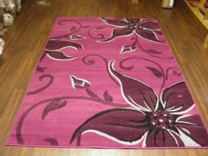 Modern 7x5ft 150x210cm Woven Backed Lily Rugs Top Quality Purple/Black BARGAINS